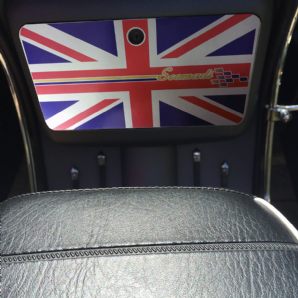 Scomadi Glove Box Sticker Wrap Decal METALLIC union jack with flagship stripe